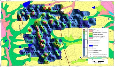Figure 3 - Weighted sums model for a combination of Au, As and Sb from soil clay separates, Beaufort central soil grid. The geochemical footprint defines a clear and consistent +2km NNW striking trend; a number of potential parallel structures, as well as a cross cutting structure, all of which point to a mineralized structural setting, which is defined by multi-element geochemistry. (CNW Group/E79 Resources Corp.)