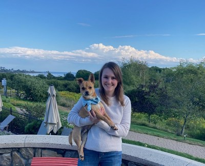 Felicity Johnson, Founder and CEO of Hello Ralphie with her Chief Fetch Officer and rescue pup, Ralph