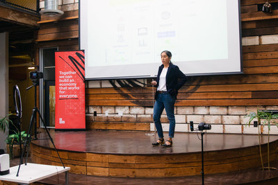 Monica Martinez pitches her company, Don Bugito, at the 2020 ICA Pitch Event.