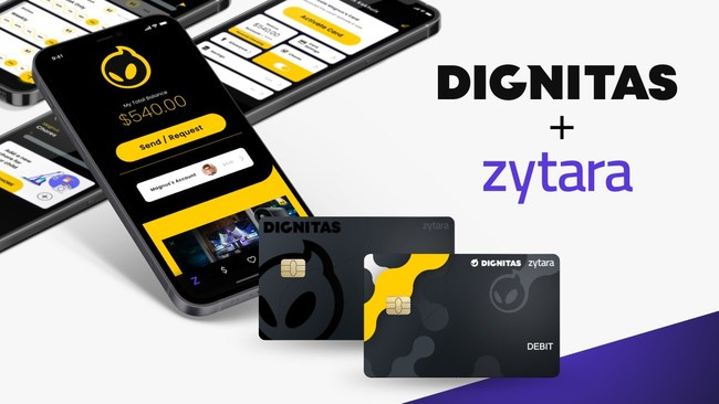 Dignitas branded Zytara app skins and debit cards