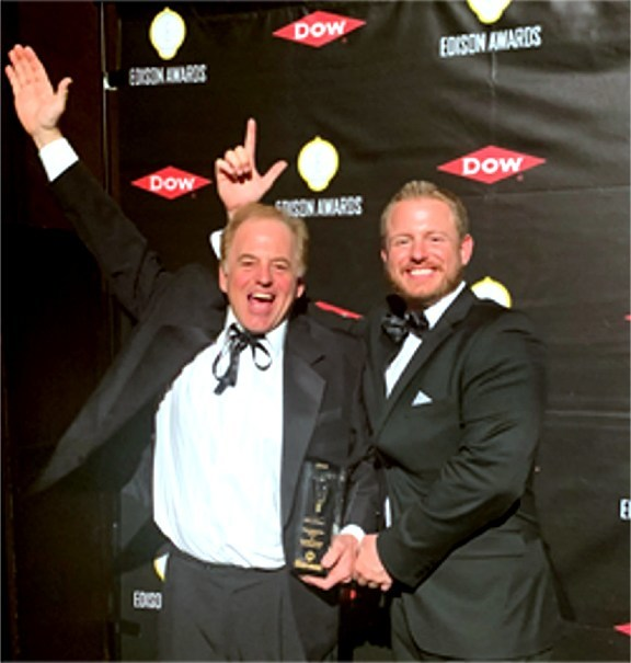 Inventors, father and son Rick Hassler on Left and RJ Hassler  on Right Awarded Gold Medal Edison Award