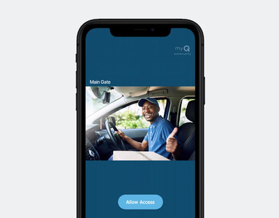 With the Community by myQ app, residents can safely identify guests through the app's one-way video calling and two-way voice communication and grant/deny access.