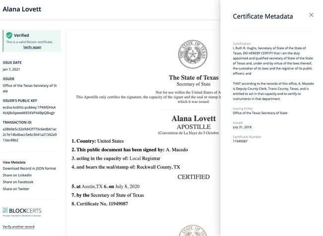 Demonstration e-Apostille Certificate issued by Hyland during the blockchain proof of concept.