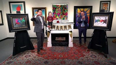 Auctioneers Jordan Sitter, Jasmyne Sitter, and Cole Waters celebrate after a record-breaking sale by Miami artist Kre8.