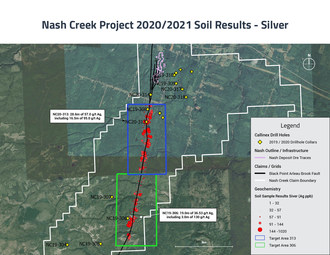 Nash Creek Soil Sampling Results Overview - Silver (CNW Group/Callinex Mines Inc.)