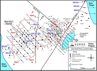 Figure 1. Plan map of drill hole locations for ongoing drill program at Ootsa.