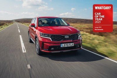 Kia's flagship SUV, the all-new Sorento, has made a strong start to the year, being named 'Large SUV of the Year' at the 2021 What Car? Car of the Year Awards.