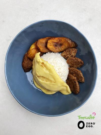 "Tropicaleo ""A Caballo."" Rice, Zero Egg scramble, Beyond sausage, and sweet plantains."