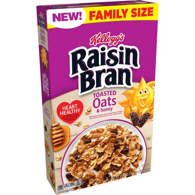 New Kellogg's Raisin Bran® Toasted Oats and Honey features the Kellogg's Raisin Bran® ingredients you know and love — hearty bran flakes and juicy raisins — now paired with crisp, whole-grain toasted oats and a touch of real honey.