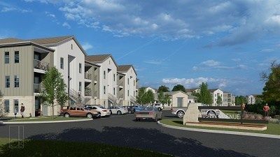 Floor plans will include one-, two- and three-bedroom apartment homes.