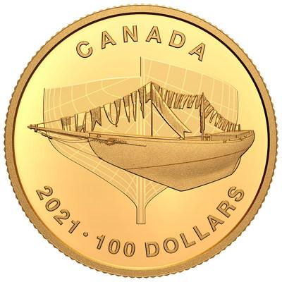 La pièce de collection en or de la Monnaie royale canadienne marquant le 100e anniversaire de Bluenose (Groupe CNW/Monnaie royale canadienne)