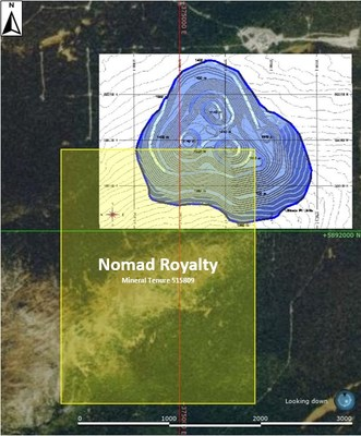 Figure 1: Plan View of the Ultimate Pit Limits and Mineral Tenure 515809 (CNW Group/Nomad Royalty Company Ltd.)