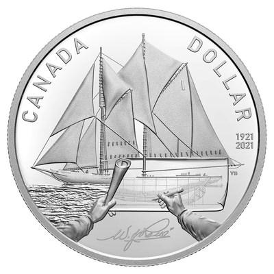Dólar de cunho de prata da Royal Canadian Mint celebrando o centenário da Bluenose (CNW Group/Royal Canadian Mint)