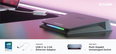 D-Link announces their 2021 CES Innovation Award Honoree, USB-C to 2.5 Gigabit Ethernet Adapter (DUB-E250), the market's smallest 2.5G adapter solution. D-Link also showcases a new Multi-Gigabit Unmanaged Switch (DMS-106XT) for home and business use.
