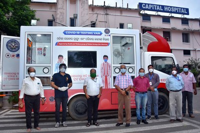 A fully equipped ambulance with Covid-19 testing facilities, sponsored by ODIA, was donated to Bhubaneswar's Capital Hospital of Odisha government. Seen in picture is Sabyasachi Mishra (2nd from left), who is coordinating ODIA doctors projects in the state