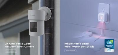 Les nouvelles solutions de maison intelligente mydlink au salon de l'électronique grand public 2021 de D-Link comprennent le kit de capteur d'eau Wi-Fi intelligent pour toute la maison (DCH-S1621KT), un honoré de l'innovation au CES, qui détecte et informe intelligemment les utilisateurs des fuites d'eau potentielles à l'intérieur; et une caméra Wi-Fi domestique extérieure à panoramique et zoom QHD 2K (DCS-8635LH).