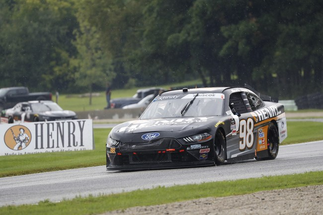 Chase Briscoe drove the #98 Ford Mustang through wet conditions to a 3rd place finish at the 2020 Henry 180 NASCAR Xfinity Series Race.