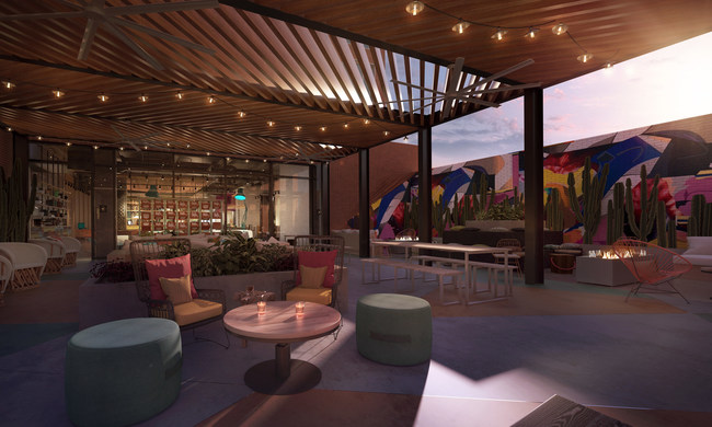 The hotel's first level features Bar Moxy – a 150-seat indoor 'living room' and outdoor 'backyard' space complete with lounge seating, fire features and an interactive guestbook that streams Instagram images and videos from Moxy guests around the globe.