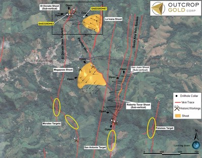 Map 1: Relation of El Dorado shoot and Paraiso vein to other discoveries. The Paraiso vein is open and extends 600 metres to where it hosts the Megapozo discovery. Drill-holes in Paraiso intecept the extension of La Ivana 350 metres down dip. (CNW Group/Outcrop Gold Corp.)