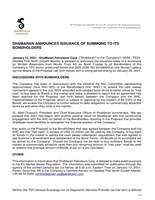 Shamaran Announces Issuance of Summons to Its Bondholders (CNW Group/ShaMaran Petroleum Corp.)