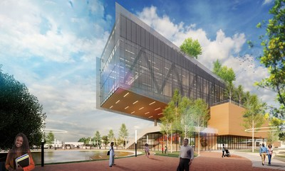 An architectural rendering of the Propel Center, a new digital learning hub, business incubator, and global innovation headquarters planned in Atlanta, Georgia for students of historically black colleges and universities (HBCUs). The center is designed to provide HBCUs with shared resources to support their work of preparing leaders to improve our world. Apple and Southern Company are founding partners.