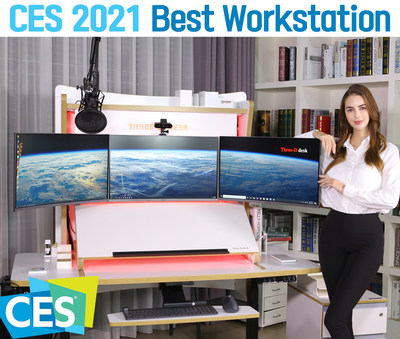 A dream desk system optimized for the human body structure and movements. [Three-D desk] W-T271 invites you to a new world of office work environment.