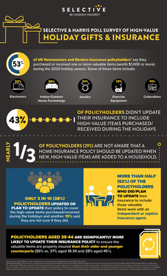 Infographic: Selective Insurance and Harris Poll Survey of High-Value Holiday Gifts and Insurance.