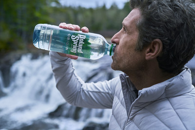 """Acclaimed Actor and Maine Native, Patrick Dempsey on location in Maine for the commercial shoot of the """"My Origin"""" with Poland Spring® ORIGIN."""