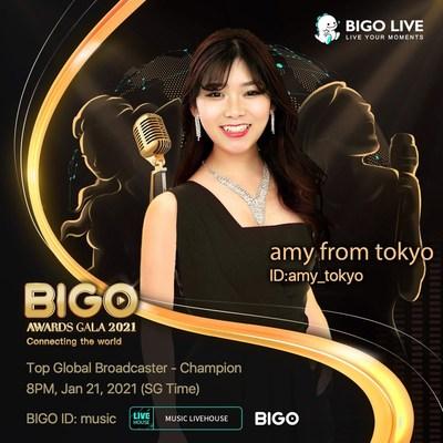 Amy, @amy_Tokio, mejor emisora a nivel global en la Gala de los premios BIGO 2021