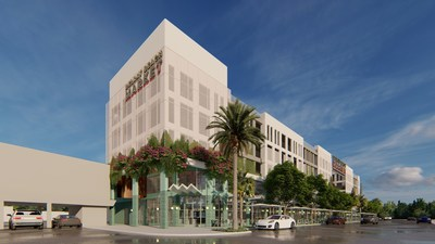 Exterior rendering of Delray Beach Market, one of America's newest food hall experiences by Menin