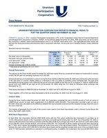URANIUM PARTICIPATION CORPORATION REPORTS FINANCIAL RESULTS FOR THE QUARTER ENDED NOVEMBER 30, 2020 (CNW Group/Uranium Participation Corporation)