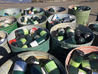 These tanks are required to be handled as hazardous waste. They were removed from Yosemite National Park propane tank collection bins and transported to a tank recycling facility over 100 miles away.