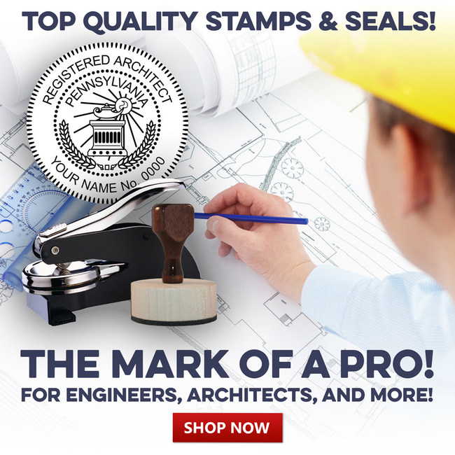 Professional stamps and seals for engineers and architechts are now available with all required information pre-set by state for all fifty states, customizable with your specific information.