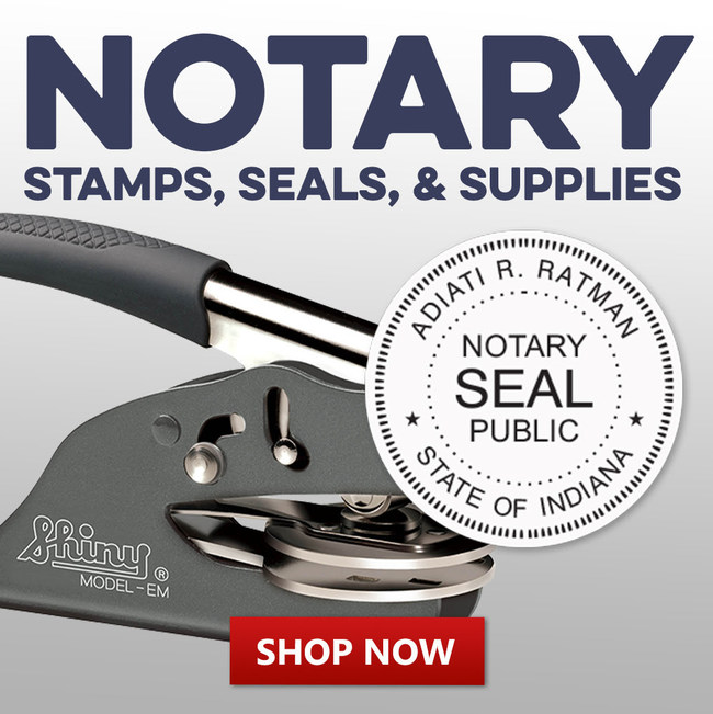 Customizable notary stamps and seals with all current information pre-set for all fifty states, now available at RubberStampChamp.com.