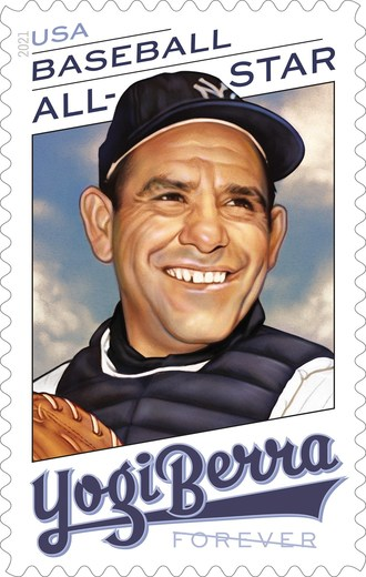 Major League Baseball All-Star Yogi Berra headlines upcoming stamps being issued by the U.S. Postal Service.