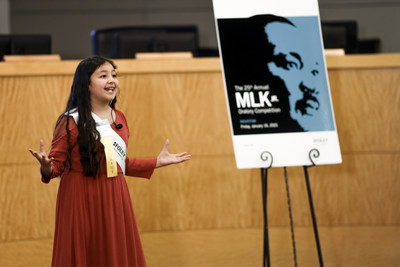 Vivianna Serna, fourth-grader from Crespo Elementary School, shares how she thinks Dr. MLK Jr.'s teachings can help us today during the 25th Annual Foley & Lardner MLK Jr. Oratory Competition Jan. 15 in Houston. Vivianna won first place.