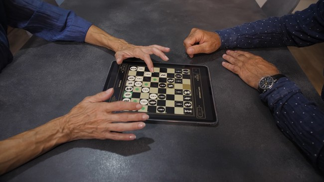 Two players using a single iPad as a virtual chessboard thanks to Two Player Chess