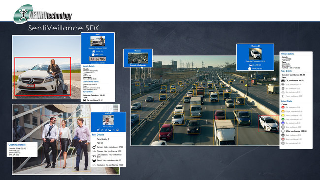 New SentiVeillance 8.0 SDK from Neurotechnology provides identification and analytics using live video streams from digital surveillance cameras or video files, and it includes algorithms for face recognition, automatic license plate recognition and vehicle and human classification and tracking.