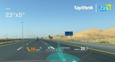 Raythink's AR HUD solution uses its patented technology - OpticalCore® to a wide-angle field of vision (FOV 23 degrees * 5 degrees @ 900mm eye relief, VID 15m ~ infinity).