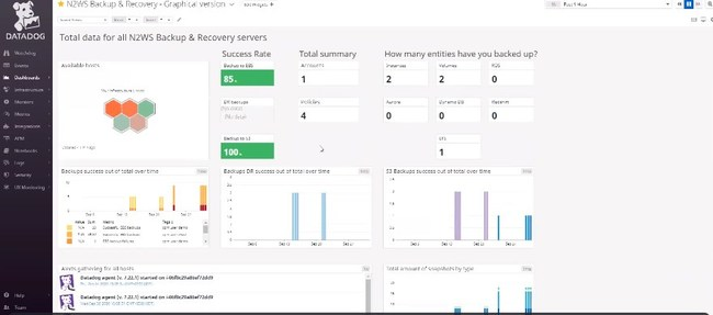 The N2WS dashboard within the Datadog console