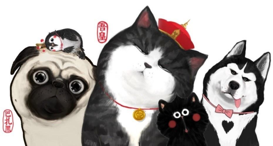 The popular original Chinese cartoon WUHUANGWANSHUI featuring a cat (Wu Huang) and a dog (Ba Zahey), Source: Cup of Cosmo Studio