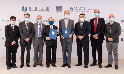 (From right to left) Prof. Tim Leung, Professor, Department of Mathematics, HKUST, Prof. Andrew Cohen, Lam Woo Foundation Professor, Director of HKUST Jockey Club Institute for Advanced Study, HKUST, Mr. Weber Lo, CEO, Hang Lung Properties, Prof. Wei Shyy, President, HKUST, Mr. Ronnie C. Chan, Chair, Hang Lung Properties, Prof. Yang WANG, Vice-President for Institutional Advancement, HKUST, Mr. HC Ho, CFO, Hang Lung Properties, Prof. Frederick Fong, Assistant Professor, Department of Mathematics, HKUST