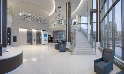 Hall principal et grand escalier à l'intérieur du pavillon Brigitte Harris Cancer