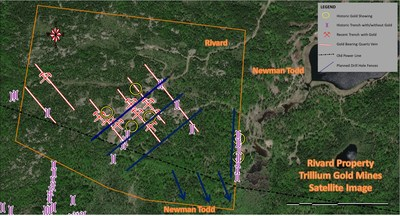 Figure 1: Satellite image of the Rivard Property showing proposed drill fences, trenches, surface gold showings, and gold bearing veins. (CNW Group/Trillium Gold Mines Inc.)