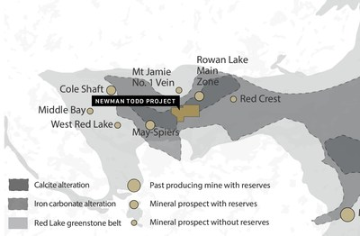Figure 2: Location of the Rivard and Newman Todd Project Property now owned 100% by Trillium Gold Mines, including producing and past producing mines, mineral prospects, as well as the Red Lake Greenstone belt, geology and alteration packages (CNW Group/Trillium Gold Mines Inc.)