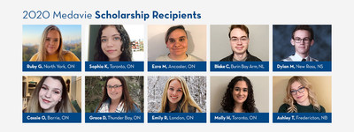 Medavie, through its Foundation, has awarded a total of $50,000 in scholarships distributed to 10 exceptional students across four provinces. (CNW Group/Medavie)