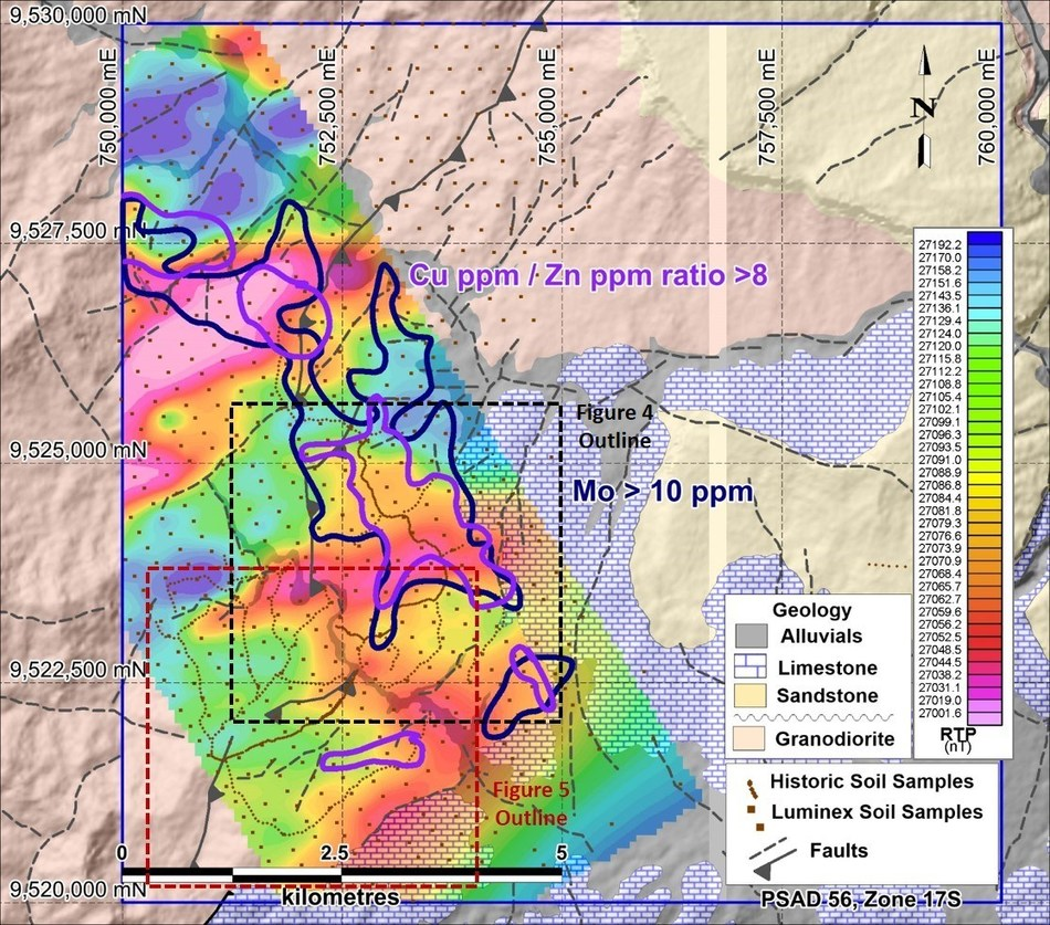 Figure 3. Airborne magnetic data reduced to pole with contoured Cu/Zn ratio and molybdenum soil sample data and new anomalous copper assays highlighted.  Geology interpretation background. (CNW Group/Luminex Resources Corp.)