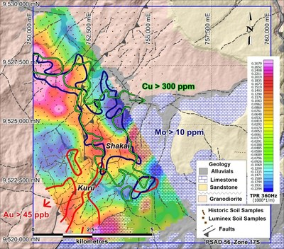 Figure 2. Contoured soil geochemistry overlain on airborne ZTEM data and with geology interpretation background and shaded topographic relief. (CNW Group/Luminex Resources Corp.)