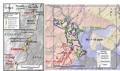 Figure 1. Location map. Left: Regional location map. Right: Contoured soil sample geochemistry with geology interpretation background and shaded topographic relief. (CNW Group/Luminex Resources Corp.)