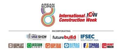 Logo of ASEAN Super 8 and Incorporating Logo including ASEAN M&E, ASEAN Lift, ASEAN Light, ASEAN Solar, Futurebuild SEA, Heavy Mach, IFSEC SEA, REVAC and TENAGA Expo.